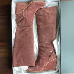 CHANEL Burgundy Suede Knee High Tall Wedge Boots